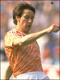 Arnold Muhren in action for Holland at the 1988 European championships