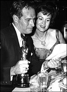 Charlton Heston with his Oscar