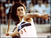 Greek javelin thrower Sofia Sakorafa in 1982