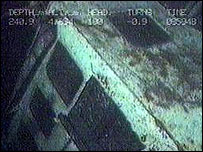 Underwater shot of the Gaul wreckage