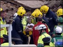 A survivor is rescued