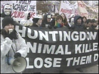 Protestors campaign against Huntingdon Life Sciences