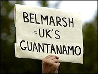 Manifestación en los alrededores de la prisión de Belmarsh