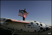 Binnie stands on SpaceShipOne (AP)
