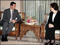 Syrian President Bashar al-Assad meets new US Ambassador Margaret Scobey in January