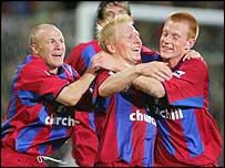 Palace players celebrate Aki Riihilahti's goal