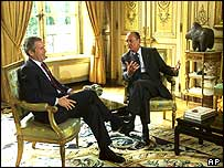 President Bush and President Chirac at the Elysee Palace in Paris in May 2002