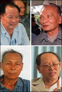 Former PM Khieu Samphan (top L), former deputy Neon Chea (top R), former army commander Ta Mok (bottom L) and former FM Ieng Sary (bottom R)