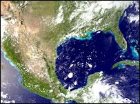 Vista satelital del golfo de México