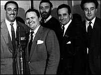 (l-r) Ray Ellington, Harry Secombe, Spike Milligan, Max Geldray and Peter Sellers