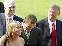 Paul Stretford, Wayne Rooney, Coleen McLoughlin and Sir Alex Ferguson