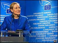 Benita Ferrero-Waldner addresses a news conference in Brussels