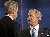 John Kerry and George W Bush at their first debate