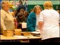 Patients registering in Machynlleth