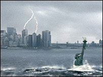 Statue of Liberty submerging in flood   20th Century Fox