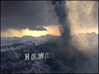 Hollywood sign obscured by tornado   20th Century Fox