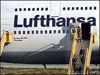 Cyrpiot bomb experts search the Lufthansa jet