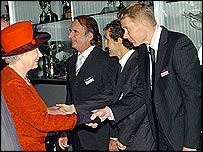 The Queen meets Emerson Fittipaldi, Alain Prost and Mika Hakkinen