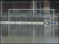 Gay Meadow during flooding