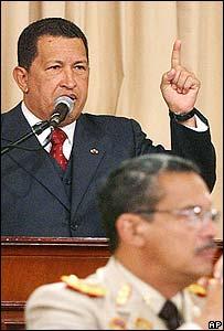 Presidente de Venezuela, Hugo Ch�vez, hablando en el Consejo Nacional de Defensa.