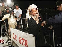 Migrants rescued by Italian coastguard, 6 October 2004