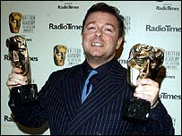 Ricky Gervais with two Bafta awards