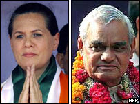 Sonia Gandhi and Mr Vajpayee  - about to change roles?