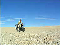 Edward Genochio in the Gobi Desert