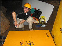 Worker unpacking equipment
