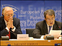 European Commission President Romano Prodi (right) and EU Enlargement Commissioner Guenter Verheugen