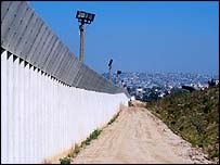 A border wall between San Diego and Tijuana