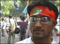 Congress supporter Sanjay Sharma