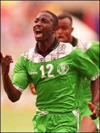 Nigeria's Samson Siasia in action for Nigeria