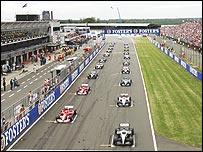 Cars line up on the grid for the start of the 2004 British Grand Prix