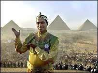 Egyptian fan Kamal Eshmawy in Pharaonic uniform at Giza Pyramids, Egypt, at a rally to support their bid