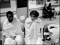 Victims of a car accident wait for treatment in the emergency room of Cardiff Hospital  (Photo: David Modell)