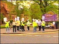 Cadbury workers protest outside the factory