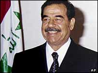 Saddam Hussein pictured in 2002
