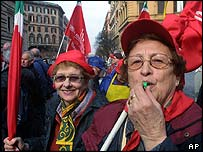 Protesters parade in downtown Rome, during a nationwide demonstration against the Italian government's planned pension system reform