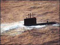HMCS Chicoutimi drifting. Pic courtesy of the RAF
