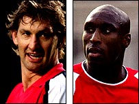 Former Arsenal captain Tony Adams and current Arsenal centre-back Sol Campbell