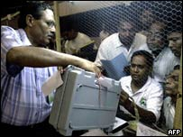 Scene from a Calcutta polling station