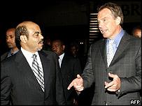Ethiopian Prime Minister Meles Zenawi and British Prime Minister Tony Blair