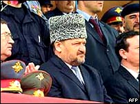 Ahmad Kadyrov (in hat) flanked by other top officials