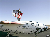 Brian Binnie on top of SpaceShipOne