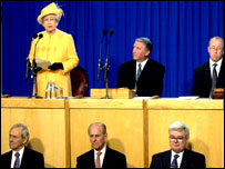 The Queen addresses the Scottish Parliament in 2002