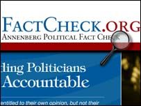 Screengrab of Factcheck.org website, BBC