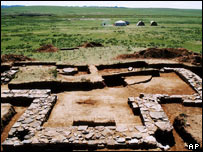 The foundations of a 13th century mausoleum belonging to Mongolian warrior Genghis Khan