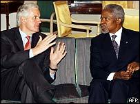 Michel Barnier and UN Secretary General Kofi Annan