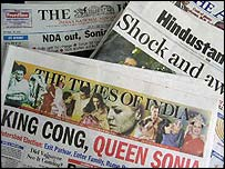 Front pages of Indian newspapers
